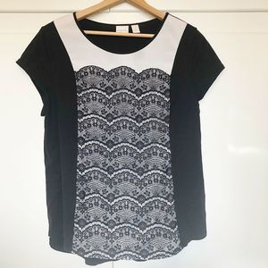Chicos Black White Lace Short Sleeve Top Sz 3 XL